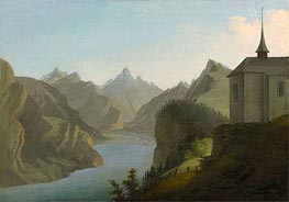 View from Mount Seelis to Lake Uri towards Altdorf, 1777 by Caspar Wolf | Painting Reproduction