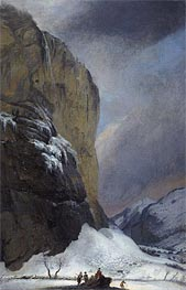 Second Staubach Falls in Winter, undated by Caspar Wolf | Painting Reproduction