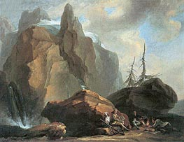 Mountain Landscape with Resting Climbers and a Painter, undated by Caspar Wolf | Painting Reproduction