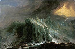 Thunder and Lightning at the Grindwaldgletscher, 1774 by Caspar Wolf | Painting Reproduction