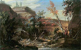 Rocky Landscape, Two Hikers in the Foreground, undated by Caspar Wolf | Painting Reproduction
