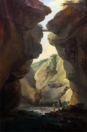 Bridge and Gorges of Dala River in Leuekerbad, View towards the Mountain | Caspar Wolf | Gemälde Reproduktion
