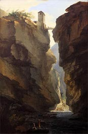 Bridge and Gorges of Dala River in Leuekerbad, View towards the Valley | Caspar Wolf | Painting Reproduction