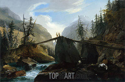 Wooden Bridge over the Lutschine near Gsteig, c.1774/77  | Caspar Wolf | Gemälde Reproduktion