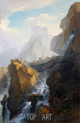 Landscape with Waterfall, Undated | Caspar Wolf | Gemälde Reproduktion
