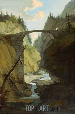 Bridge over the Muota near Schwyz, Undated | Caspar Wolf | Gemälde Reproduktion