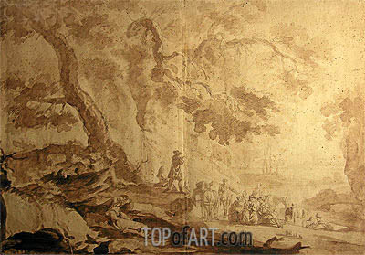Landscape with Traveling Party, 1768 | Caspar Wolf | Gemälde Reproduktion