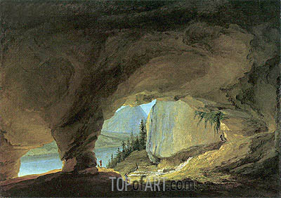 The Interior of the Beatushohle with Views of Thunersee, 1776   Caspar Wolf   Gemälde Reproduktion