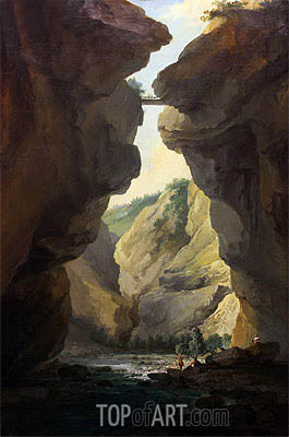 Bridge and Gorges of Dala River in Leuekerbad, View towards the Mountain, c.1774/77 | Caspar Wolf | Painting Reproduction