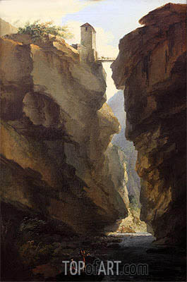 Bridge and Gorges of Dala River in Leuekerbad, View towards the Valley, c.1774/77 | Caspar Wolf | Gemälde Reproduktion