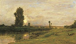 Moonrise on the Banks of the River Oise, 1874 von Charles-Francois Daubigny | Gemälde-Reproduktion