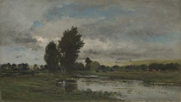 French River Scene | Charles-Francois Daubigny | Painting Reproduction