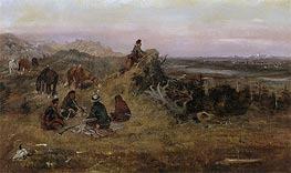 The Piegans Preparing to Steal Horses from the Crows, 1888 von Charles Marion Russell | Gemälde-Reproduktion