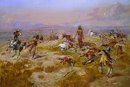 The Death Song of Lone Wolf | Charles Marion Russell | Painting Reproduction