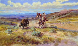 Spearing a Buffalo | Charles Marion Russell | Painting Reproduction