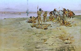 The Signal Fire | Charles Marion Russell | Painting Reproduction