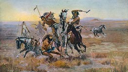 When Sioux and Blackfeet Met | Charles Marion Russell | Painting Reproduction