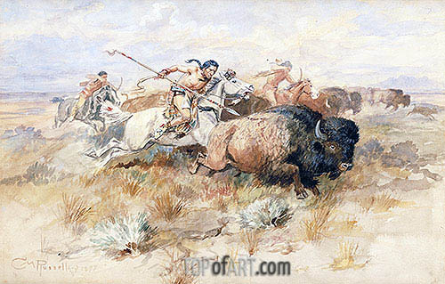 A Kiowa's Odyssey: The Buffalo Hunt, 1877 | Charles Marion Russell | Painting Reproduction
