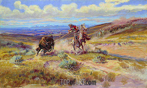 Spearing a Buffalo, 1925 | Charles Marion Russell | Painting Reproduction