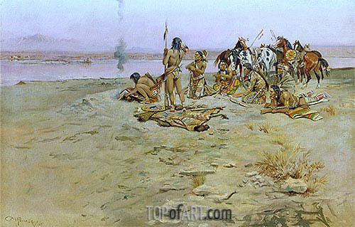 The Signal Fire, 1897 | Charles Marion Russell | Painting Reproduction