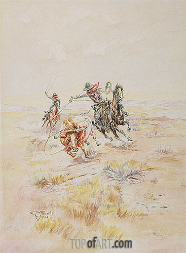 Cowboys Roping a Steer, 1904 | Charles Marion Russell | Painting Reproduction