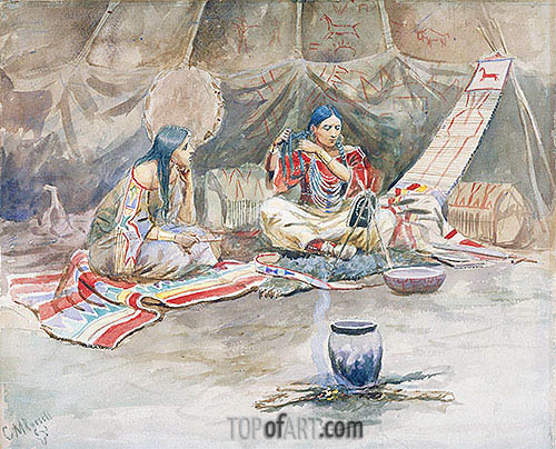 Two Indian Maidens,  c.1900/10   Charles Marion Russell   Painting Reproduction