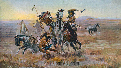When Sioux and Blackfeet Met, 1902 | Charles Marion Russell | Painting Reproduction