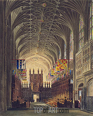 Interior of St. George's Chapel, Windsor Castle, 1819 | Charles Wild | Painting Reproduction