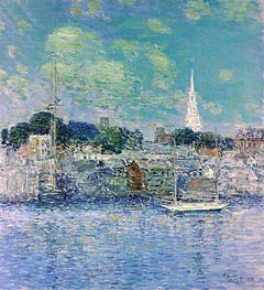 Newport Waterfront, 1901 by Hassam | Painting Reproduction