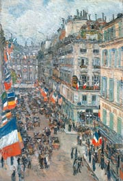July Fourteenth, Rue Daunou, 1910 | Hassam | Painting Reproduction