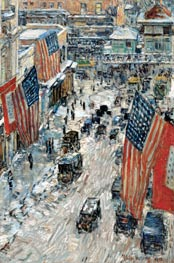 Flags on Fifty-seventh Street, The Winter of 1918, 1918 by Hassam | Painting Reproduction