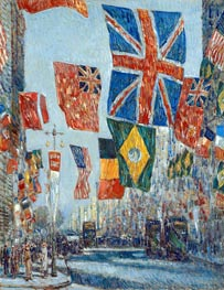 Avenue of the Allies, Great Britain, 1918, 1918 by Hassam | Painting Reproduction