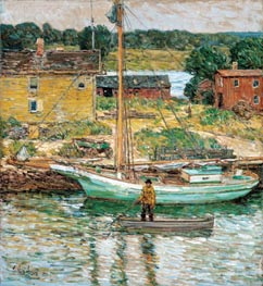 Oyster Sloop, Cos Cob, 1902 by Hassam | Painting Reproduction