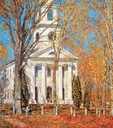 Church at Old Lyme, 1905 by Hassam | Painting Reproduction