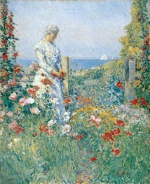 In the Garden (Celia Thaxter in Her Garden) | Hassam | Painting Reproduction