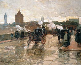 Clearing Sunset (Corner of Berkeley Street and Columbus Avenue), 1890 von Hassam | Gemälde-Reproduktion