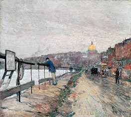 Charles River and Beacon Hill, 1892 by Hassam | Painting Reproduction