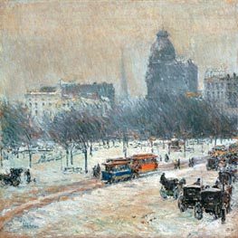 Winter in Union Square, c.1889/90 von Hassam | Gemälde-Reproduktion