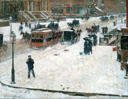 Fifth Avenue in Winter, c.1890 von Hassam | Gemälde-Reproduktion