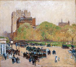 Spring Morning in the Heart of the City, 1890 by Hassam | Painting Reproduction