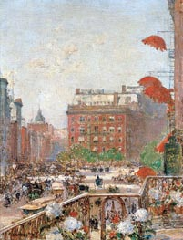 View of Broadway and Fifth Avenue, 1890 by Hassam | Painting Reproduction