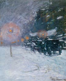 Winter, Midnight | Hassam | Painting Reproduction