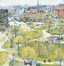 Union Square in Spring, 1896 von Hassam | Gemälde-Reproduktion