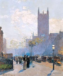 Lower Fifth Avenue, 1890 von Hassam | Gemälde-Reproduktion