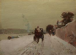 Along the Seine, Winter | Hassam | Painting Reproduction