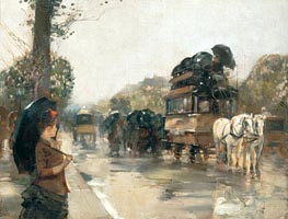 April Showers, Champs Elysees, Paris, 1888 by Hassam | Painting Reproduction