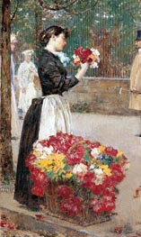 Flower Girl, c.1887/89 by Hassam | Painting Reproduction