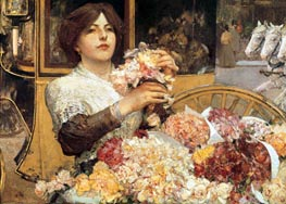 The Rose Girl | Hassam | Painting Reproduction