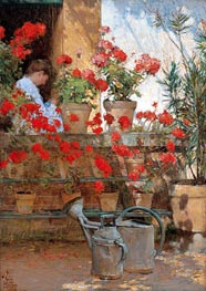 Geraniums, c.1888/89 by Hassam | Painting Reproduction