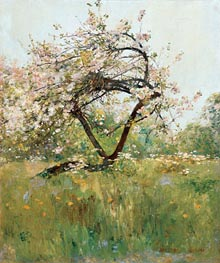 Peach Blossoms - Villiers-le-Bel, c.1887/89 by Hassam | Painting Reproduction